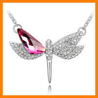 6 pcs Lot Jewelry fashion dragonfly pendant Colorful + Gift N...