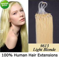 Wholesale 100S quot Micro rings loop hair remy Human Hair Extensions lightest blonde g s