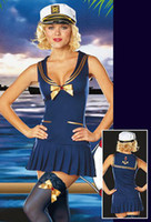 Wholesale Fancy sailor girl uniforms sexy lingerie dark blue bows tie pleats babydoll cap costume mix order