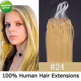 Wholesale 100S quot Micro rings loop remy Human Hair Extensions blonde g s