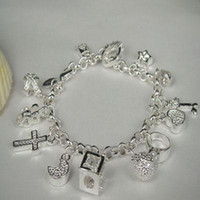 Wholesale Lady girl crystal hot sell Sterling Silver fashion jewelry charm pendant bracelet H144