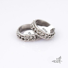 50pcs lot Rotate Chain Link Ring Industrial Metal Punk Metal Bling Silver Tone Stainless Steel Rings