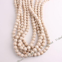 Wholesale 255 Round White Natural Turquoise Gemstone Loose Beads Diy CHARMS Bead Fit Bracelets mm