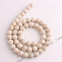 Wholesale 102 Round White Natural Turquoise Gemstone Loose Beads Diy CHARMS Bead Fit Bracelets mm