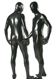 Wholesale full body lycra spandex zentai metallic black men catsuit costume