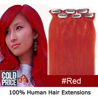 "20"" 6pcs set Clip- in hair Human Hair Extensions #red 36..."