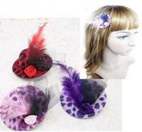 achat en gros de partie de poule chapeau de feutre-Free Ship 10 pièces mixtes feutre clip Mini Top Hat Plume Chapeau Cheveux Hen Party Lady Popular Veil