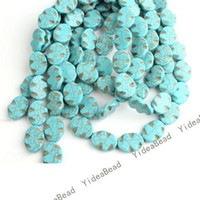 Wholesale 40 OVAL Blue Natural Turquoise Gemstone Loose Beads Charms Diy Bead Fit Bracelets MM