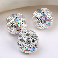 8mm pave beads - 8mm crystal AB Spacer Beads handicraft globose beads silver plated pave rhinestones balls findings