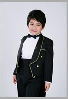 Wholesale Hot Selling Shawl Lapel Black Boys Tailcoat Formal Occasion Kid Suits Boy s Attire Custom Made clothes pants Bows tie girdle AA18
