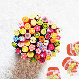 200 Pcs Fimo Clay Assorted Fruits Flowers Animals Sticks Nail Art Decoration New 4.5-5cm New