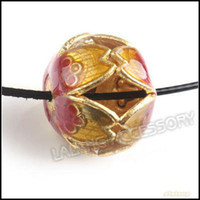 Wholesale Flower Enamel Lantern Cloisonne Ball Bead Straight Hole Charms Bead Fit Jewelry DIY
