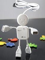 Wholesale mini White Human Shape Laptop PC Port USB Hub High Speed Mbps