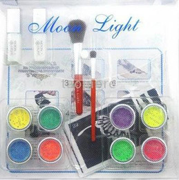 Wholesale 2012 new fashion Body Painting Color Glitter Temporary Tattoo Brush Stencil Glue Kit