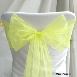Wholesale quanlity guarantee Low price PaleYelloW Wedding Party Banquet Chair Organza Sash