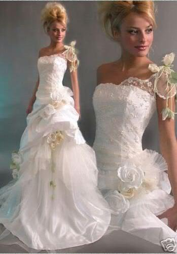 Classic One Shoulder Hot Sexy Bridal Wedding Dresses Appliques ...