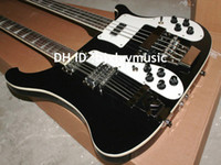 Wholesale New Double neck bass guitar string bass and string guitar black Electric Guitar OEM Available