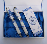 Calligraphy & Fountain Pens   Crafts Ethnic Pen China Blue and White Porcelain Fountain Pens with Hardcover Box 10pcs Free