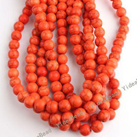 Wholesale 106 Round Orange Natural Turquoise Gemstone Beads Charms Spacer Bead Fit Diy BRACELETS mm