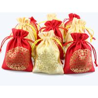 al por mayor fiesta del té chino-Cheap Traditional Chinese Pequeños bolsos de cordón de satén para la boda Favor Candy Bags Drawstring regalo paquete de bolsa Bolsas de té vacío 50pcs