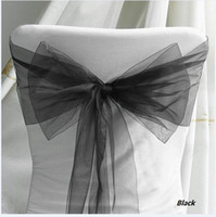 Wholesale Low price Black Wedding decoration Chair Organza Sash hot HOT Chair cover sash