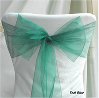 Wholesale quanlity guarantee Low price Teal Blue Wedding Party Banquet Chair Organza Sash