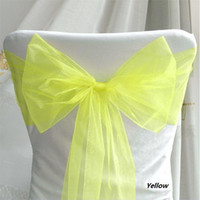 Wholesale Hot sell and high quanlity Yellow Organza Chair SashWedding Banquet Party decoration