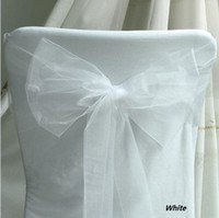Wholesale 25pcs White Wedding Banquet Chair Organza Sash Christmas Party decor