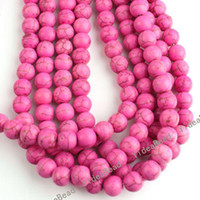 Wholesale 106 Round Purple Natural Turquoise Gemstone Beads Charms Spacer Bead Fit Diy BRACELETS mm
