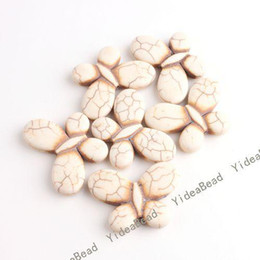Wholesale 130 White Butterfly Natural Turquoise Gemstone Beads Charms Spacer Bead F Diy BRACELETS mm