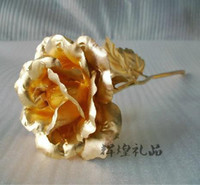 Wholesale Great Valentine s day gifts cm length k gold rose lover s flower Gold Dipped Rose open bud