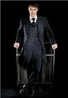 Wholesale Top quality Hi Lo Black One Button Peak Lapel New Groom Tuxedos Wedding Men s Suit Bridegroom Suits Jacket Pants Tie Vest Z21