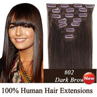 Wholesale Remy Indian human hair quot set Clip in hair Human Extensions dark brown g set