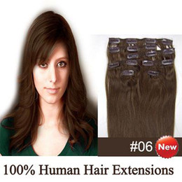 Wholesale Remy Indian human hair quot set Clip in hair Human Extensions dark chocolate brown g set