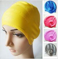 Wholesale New Fashion Durable Elastic Silicone Swimming Cap Bathing hat waterproof swim hat