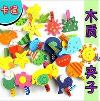 Wholesale Wood Note Clip Educational Toy cartoon Paper Photo Note Clip Bookmark folder clip