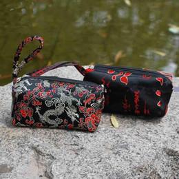 Trendy Clutch Purses Designer Women s Double Zippers Silk Flower Pattern 10pcs lot mix color Free