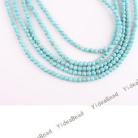Wholesale 228 Faceted Round BLUE Natural Turquoise Gemstone Beads Charms Spacer Bead Diy BRACELET mm