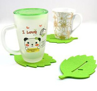 beautiful mat - Creative fashion felt beautiful green leaf cup mat coaster with Chinese character cup mat