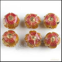 Wholesale Latern Beads Hollow Cloisonne Ball Charms Beads Exquisite Golden Red Flower