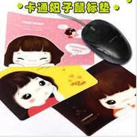 Wholesale 6pcs fashion sweet smile girl cookies cartoon mouse pad anti skid mouse pad heat resistant mat