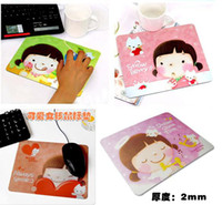 Wholesale 6pcs fashional cute girl cookies cartoon mouse pad anti skid mouse pad heat resistant mouse mat
