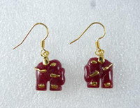 Cheap Red elephant earrings Best Women's Gold Plate/Fill red jade