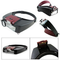 Wholesale New X Lighted Magnifying Glass Headset Head Magnifier Loupe Free Drop Shiipping