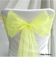 Wholesale Factory direct sale Low price PaleYellow Wedding Party Banquet Chair Organza Sash