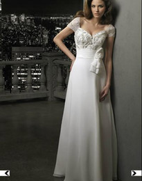Wholesale Short sleeve Sweetheart Chiffon A Line Chapel Train Wedding Dress Bridal Gown MGNY