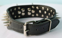 Wholesale 2 quot quot Black Strong Genuine Leather Spiked Studded Dog Collar Pit Bull mastiff large dog collars