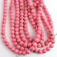 Wholesale 100pcs New Round Gemstone Natural Turquoise Dyed Pink Beads MM Fit Bracelets Necklaces DIY