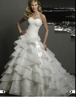 Wholesale Strapless Sweetheart Organza A Line Floor length Wedding Dress Bridal Gown MGNY