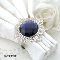 Iron ECO Friendly Acrylic Stone / Silver-tone Metal Rings hot selling-50 Navy Blue Napkin Rings Wedding Bridal Shower Favour Party decor
